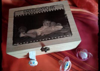 Emlékgyűjtő fotótranszfer rétegelt nyír doboz, 21x14 cm