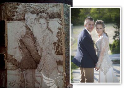 Esküvői pár - kézzel készült pirográfia tömör bükk fára kb A4-es méretben