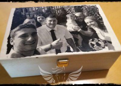 Karácsonyi ajándék-fotótranszfer, rétegelt nyír doboz, 21x14 cm