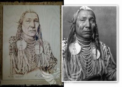 Sioux indián - kézzel készült pirográfia, rétegelt bükk falemez, A3-as méret