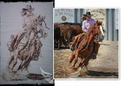 Cutting lovas - kézzel készült pirográfia, rétegelt bükk lemezre, A4-es méret