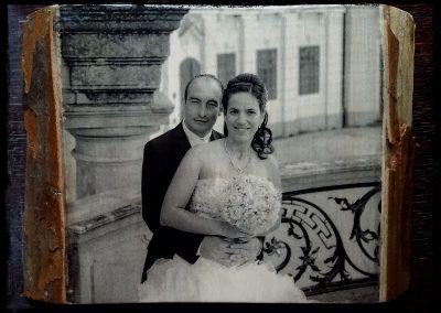 Esküvői pár, fotótranszfer, platán fa, A4-es méret