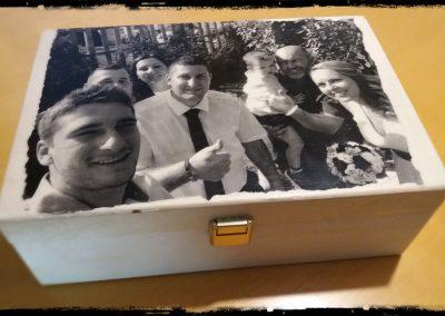 Karácsonyi ajándék, fotótranszfer, rétegelt nyír doboz, 21x14 cm